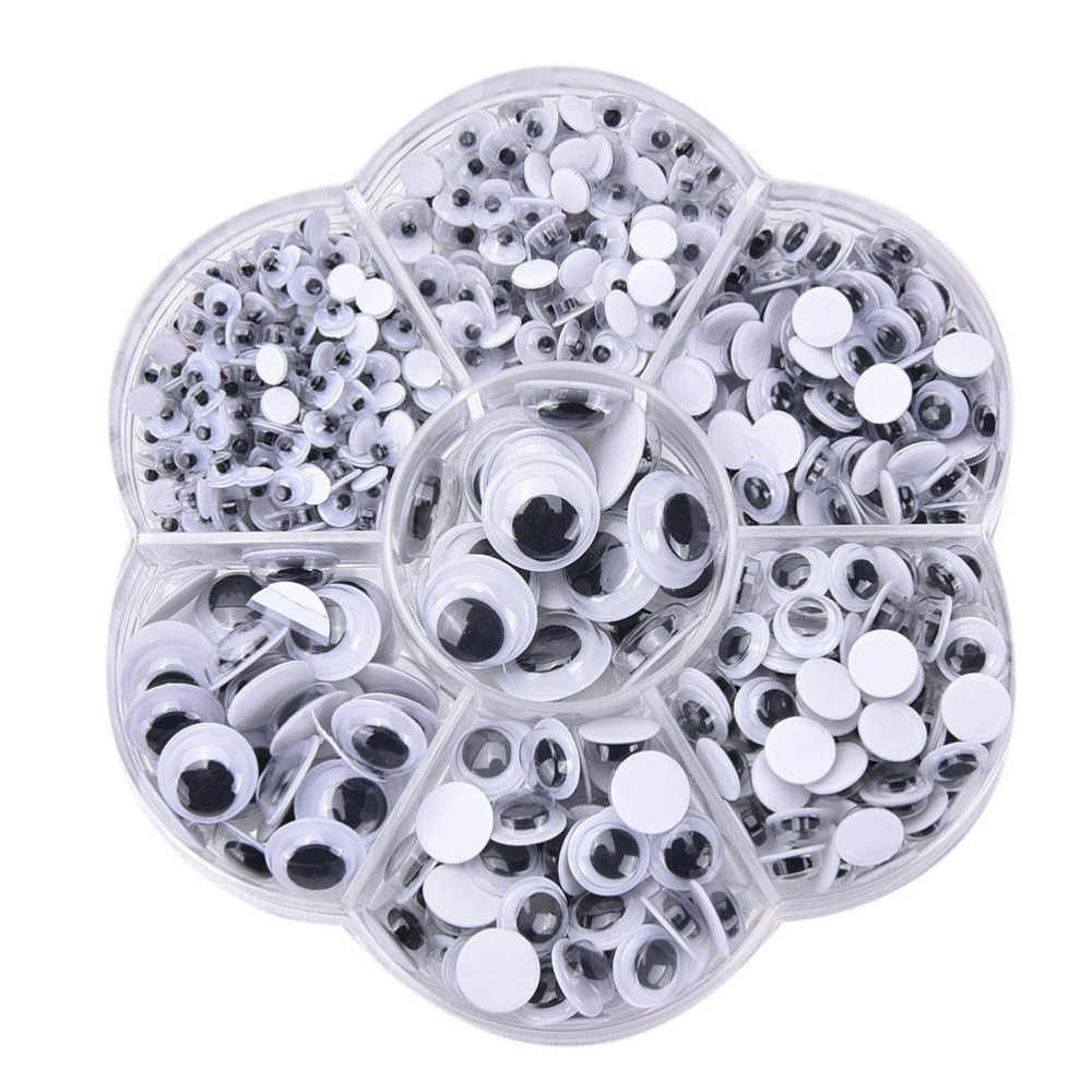 700pcs 4mm 5mm 6mm 7mm 8mm 10mm 12mm Plastic Cartoon Animal Doll Puppet Self-Adhesive Eyeballs Eyes Round  Wiggly Google Eyes