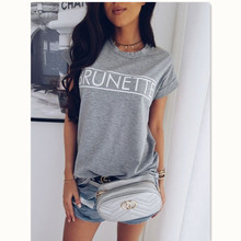 Summer Women Casual T-shirts HOT Short Sleeve O-Neck Letter Print Solid Loose T-Shirt