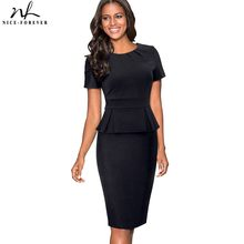 1ffcb066b Nice-forever Vintage elegante Color puro Wear trabajar Zipper Ruffle vestidos  Bodycon oficina de negocios vaina mujeres vestido .
