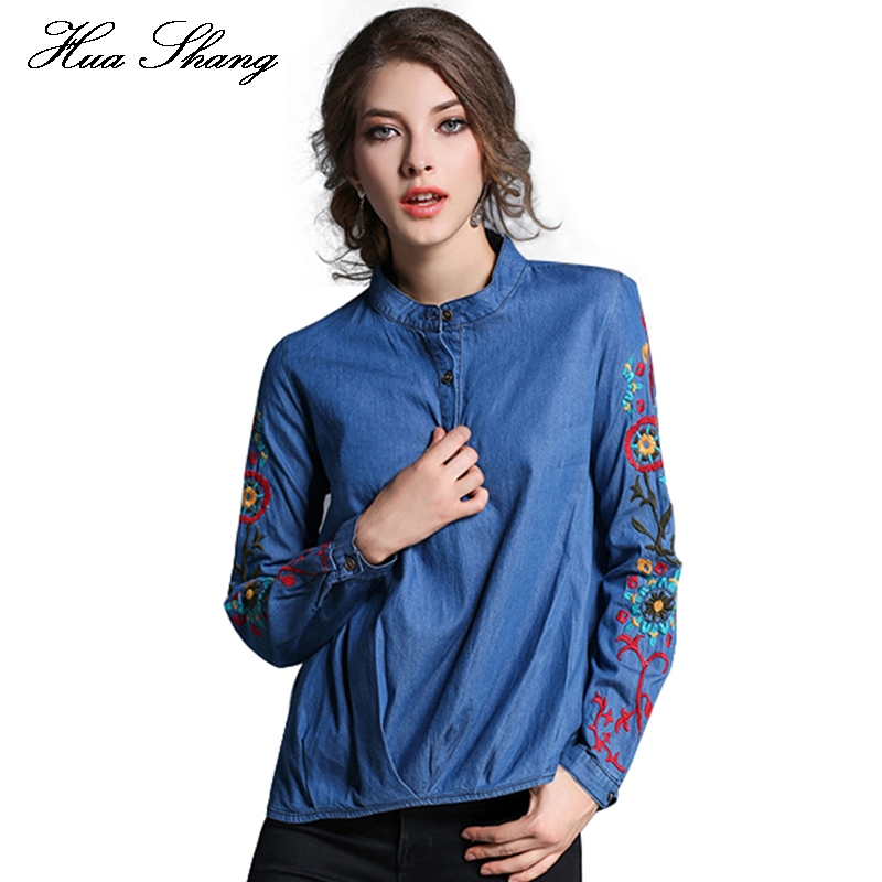 Autumn women blouses long sleeve stand collar embroidery for Blue denim shirt for womens