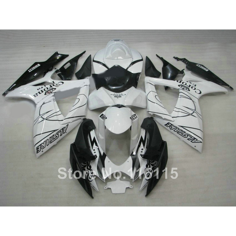 Injection mold fairing kit for SUZUKI GSXR 600 750 K6 K7 2006 2007 motorcycle part GSXR600 GSXR750 06 07 black white Corona fair new motorcycle ram air intake tube duct for suzuki gsxr600 gsxr750 2006 2007 k6 abs plastic black