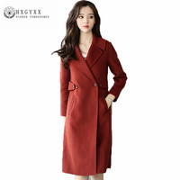 High Quality Leisure Pure Color Winter Women Woolen Cloth Coat Fashion Long Pure Color Female Parka