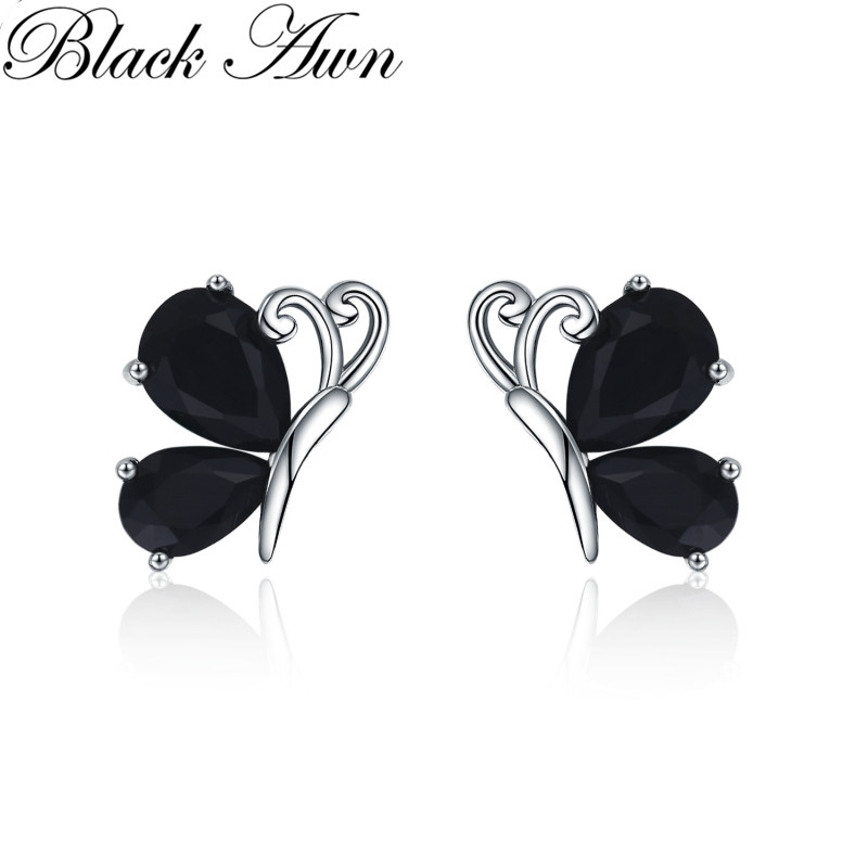 Black Awn 2019 New Romantic 1.8g 925 Sterling Silver Jewelry Natural Butterfly Black Spinel Party Stud Earrings For Women I107