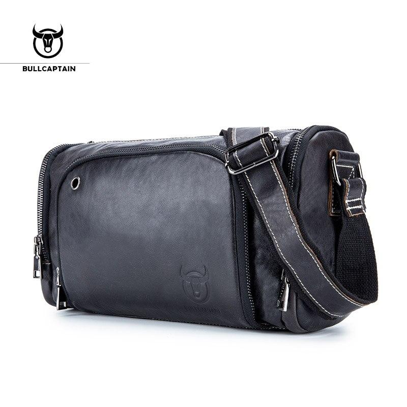 BULLCAPTAIN 2018 модные кожаные мужские сумки на плечо большой емкости сумки через плечо среднего размера брендовая мужская сумка hengkuan