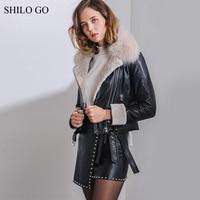 SHILO GO Leather Coat Womens Winter Fashion sheepskin genuine Leather Jacket real fox fur collar long sleeve motorcycle jacket