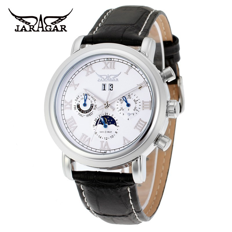Jaragar Mens Mechanical Watches Automatic Moon Phase Watch Leather Band Clock цена и фото