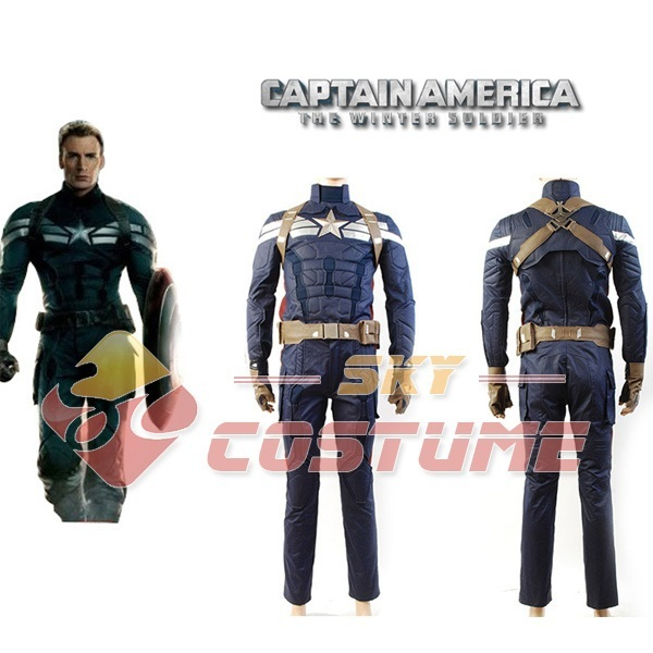 Captain America 2: Winter Soldier Steve Rogers Cosplay Costume Outfit Full Set Halloween Carnival Cosplay Costumes