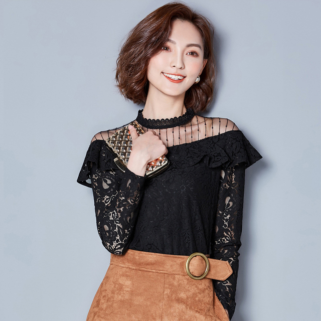 New Hollow Out 2020 New V-neck Female Blouses shirt Casual black shirt tops Sexy Long sleeve Women Lace blouses blusa 661F 3
