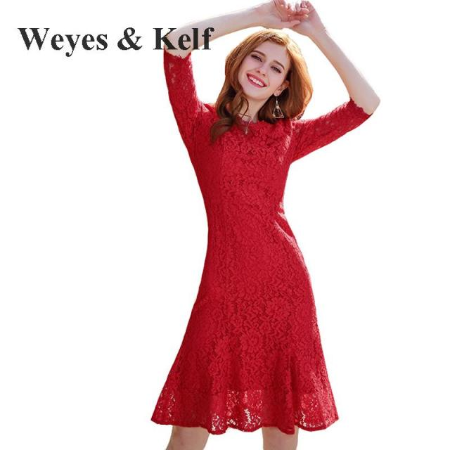 Weyes & Kelf Spring Ladies Red Lace Women Party Dresses For Summer ...