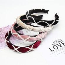 Xugar Hair Accessories Pearl Knot Velvet Women Hairband Sweet Solid Fabric Female Hoop Simple Bride Wedding Headwear