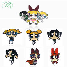 RJ Hot US Cartoon Powerpuff Girls Brooches Pins Anime Miraculous Ladybug Badges Kids Coat Shirt Kawaii Xmas Brinco Jewelry Gift(China)