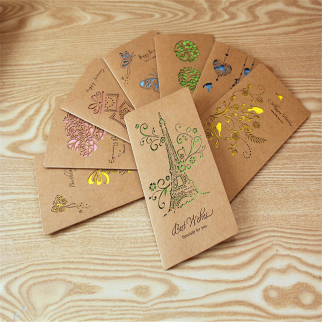 hollow fine kraft big birthday card greeting card holiday card childrens day greeting cards 8pc - Big Greeting Cards