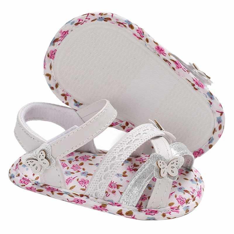 Sandalias de bebé para recién nacidos, Sandalias para niñas, suela suave, para interior, cuna Floral, Sandalias antideslizantes, zapatos de bebé