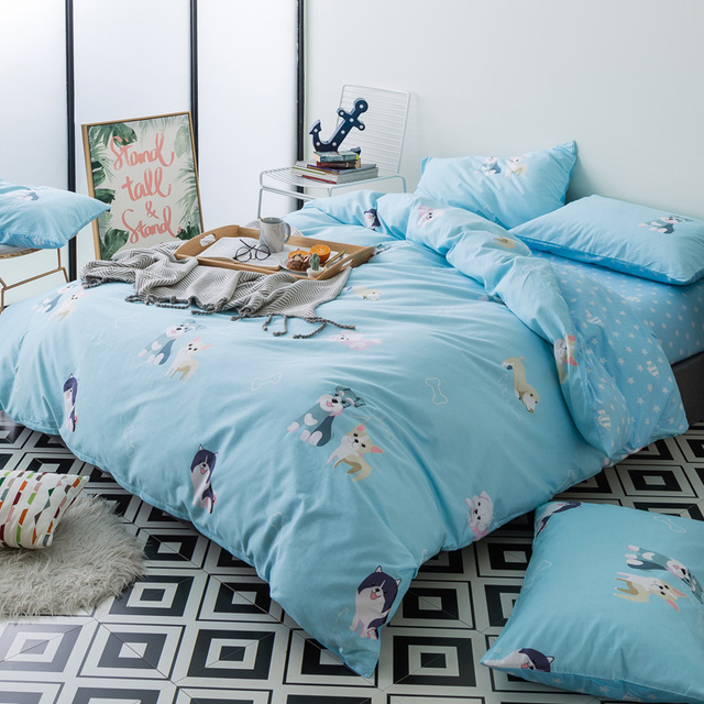 2018 New Cute Dogs Light Blue Bedding Set Cotton Queen Size 4pcs