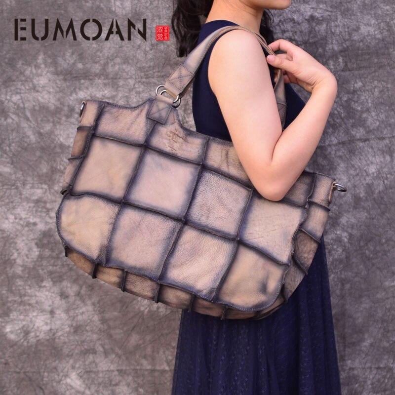 La première couche en cuir fait à la main Mature femme atmosphère sac à bandoulière grand plaid patchwork sac à main en cuir véritable