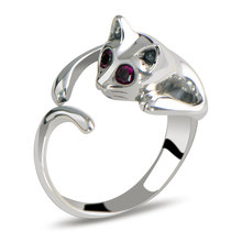 Women with Rhinestone Eyes Glisten Cat Shaped 1PC Ring Casual Jewelry Resizable Silver Opening Set Drill Sale Plated(China)