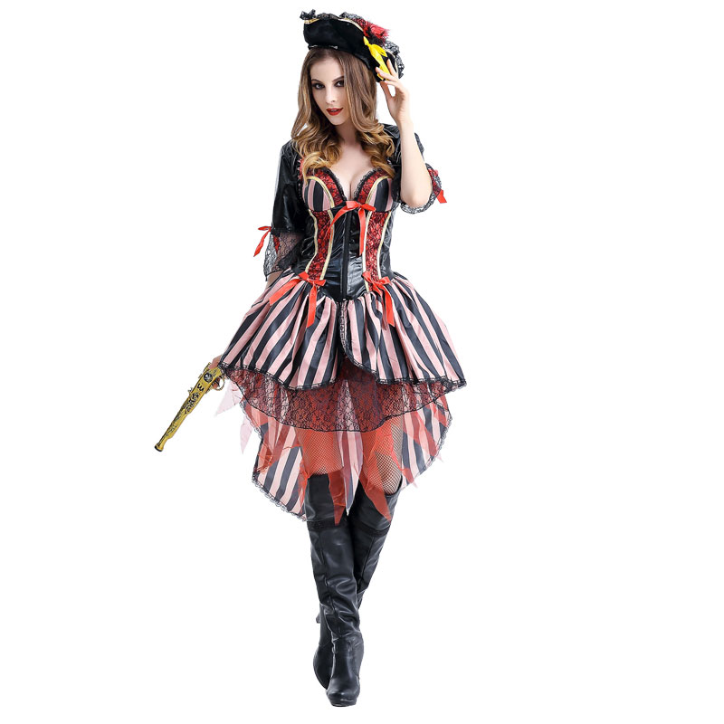 Halloween Costume for Women Captain Pirate Costumes Adult Woman Female Ladies Fancy Cosplay Dress Hat Carnival