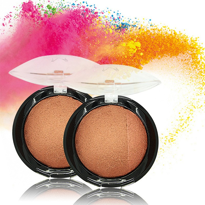 Hot Sale 1Pc Beauty Women Face Blush Makeup Baked Cheek Bronzer Highlighter Blusher Palette Colorete Sleek Cosmetic Shadows