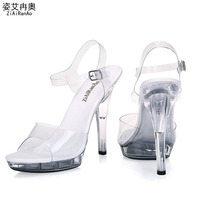 2015 Summer Sandals Big Size Buckle Shoes Woman Transparent Crystal 13CM High Heels Sexy Party Women