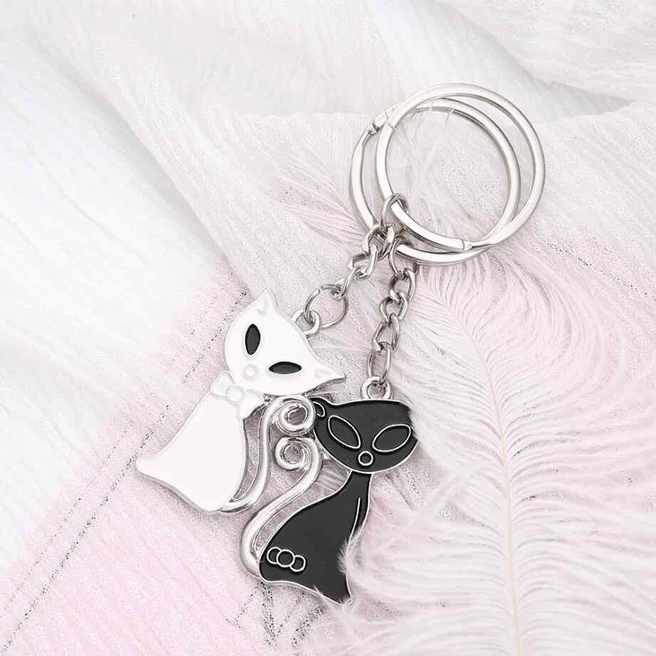 Moda Anime Animal Dos Desenhos Animados Da Corrente Chave Chaveiro Do Gato Preto e Branco Raposa Bonito Sereia Melancia Pingente Chaveiro Para A Menina Xmas presente