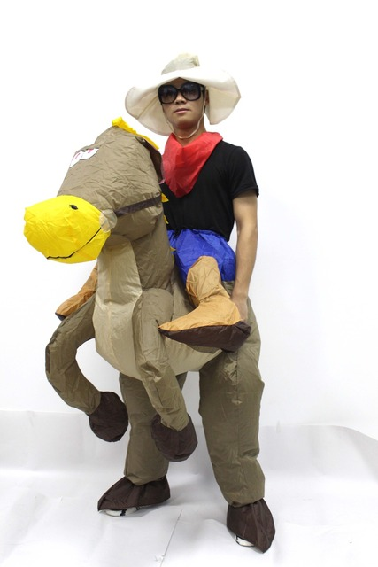 Exceptional Best Sell Inflatable Cowboy Dinosaur Costume Ride On Horse Fancy Party  Dress Halloween Cosplay T Rex Costumes For Adult Kids