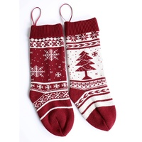 1pcs Christmas Socks Snow Printed Knitted Hosiery Gift Tree Ornament Stocking Candy Party socks 2018 New Arrival