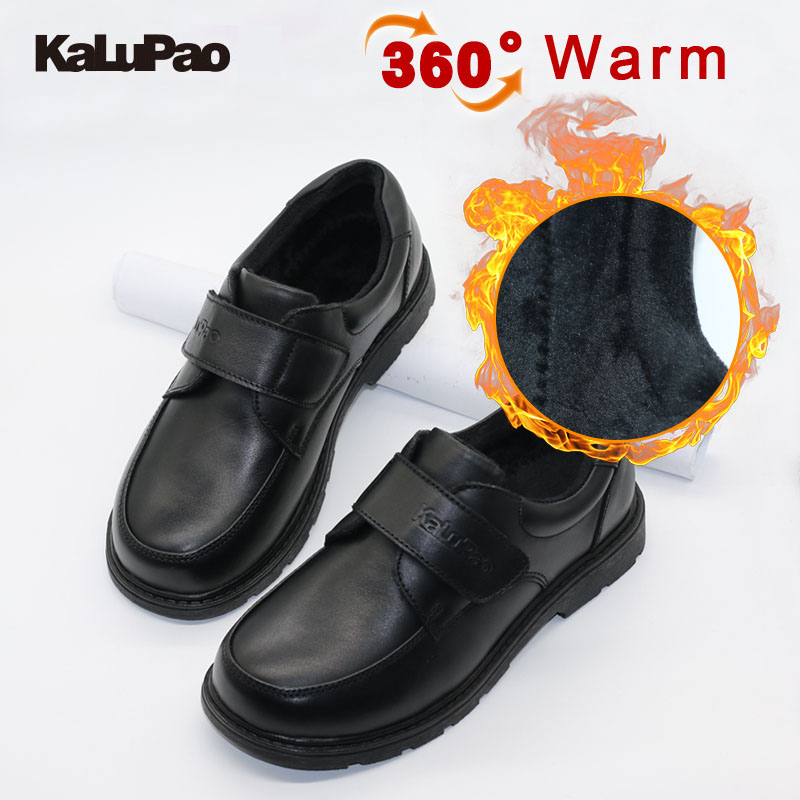 2019 Winter Children Shoes Boys Snow Waterproof Shoes Kids School Genuine Leather Shoe Dress Shoes With Fur Warm