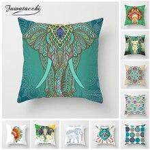 Fuwatacchi Indian National Style Cushion Cover Decoration Print Elephant Mandala Throw Pillow Sofa Home Decorative Pillowcase