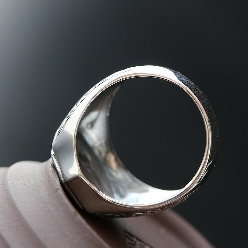 S925 bague en argent pur pour femme bague en argent rétro bague pour homme argent bouddha 100% réel 925 argent hommes anneaux femmes anneaux - 4