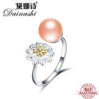 Dainashi 100% Real 925 Sterling Silver Pearl Ring for Women Trandy Natural Perfect Freshwater Pearl Engagement Ring Jewelry 2019