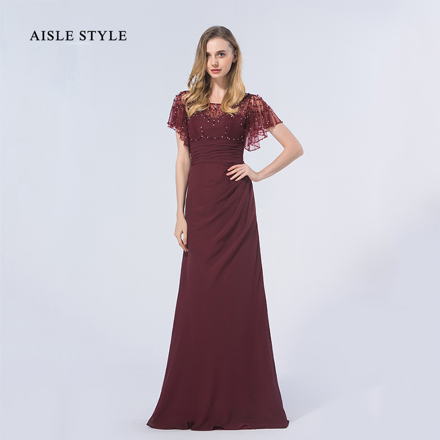 Aisle style vintage gatesby inspired luxury sequin beaded top long aisle style vintage gatesby inspired luxury sequin beaded top long burgundy modern bridesmaid dress with flutter sleeves in bridesmaid dresses from weddings ombrellifo Choice Image