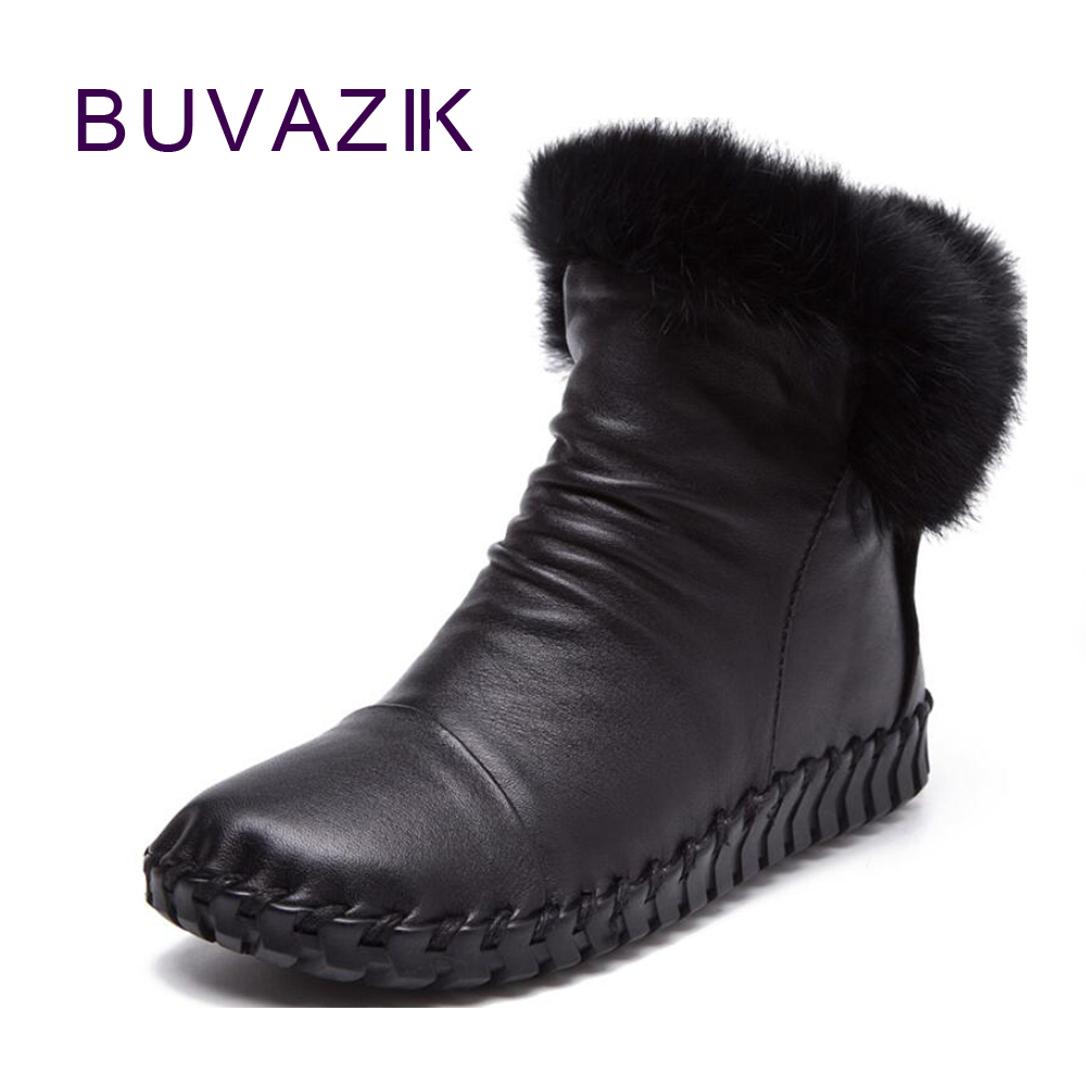 2017 winter fashion female genuine leather boots women's round head warm plush wool shoes with zipper waterproof