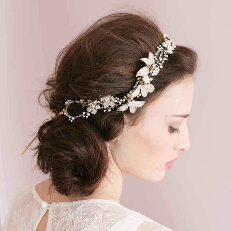High-end barok blomsterhovedkranser Brude perle sølv hårbånd - Beklædningstilbehør - Foto 2