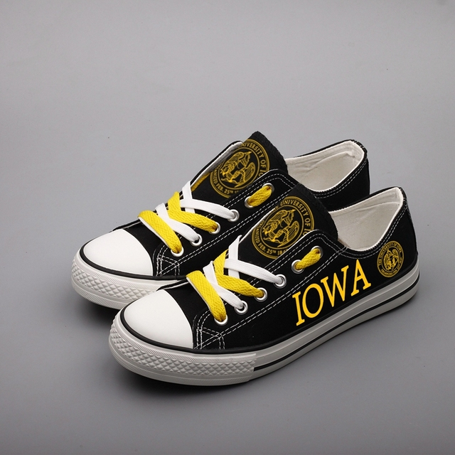 760696dc413a E-LOV Fashion Men Flat Tenis Espadrilles America Iowa State Customized  Canvas Shoes Low Top Black Summer Shoes Chaussures
