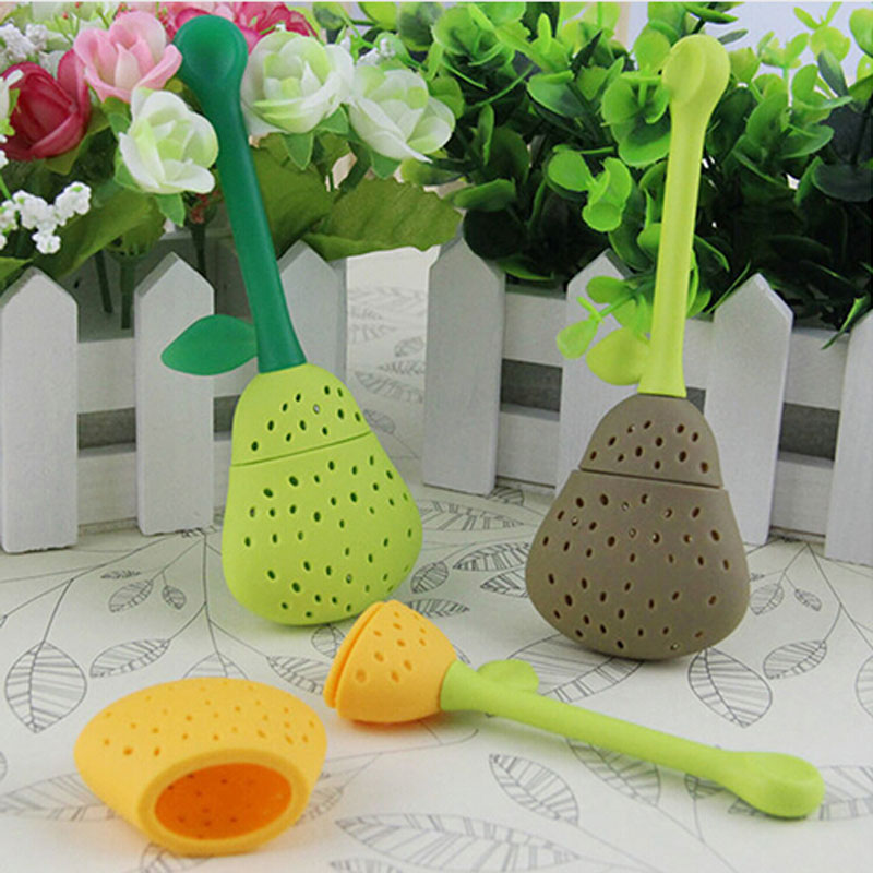 Silicone Pear Design Tea Leaf Strainer Herbal Spice Infuser Teacup Teapot Filter