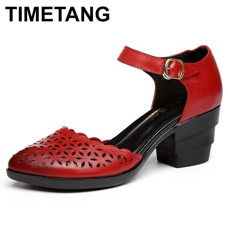 Horaires 2018 femmes talons épais sandales couvertes orteil chaussures Style ethnique été en cuir véritable creux femmes sandale