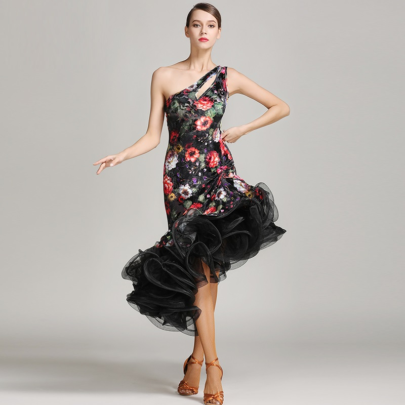 flower latin dance dress women latin dress latin salsa flamenco ballroom dance dress latin salsa dress dance costume tango