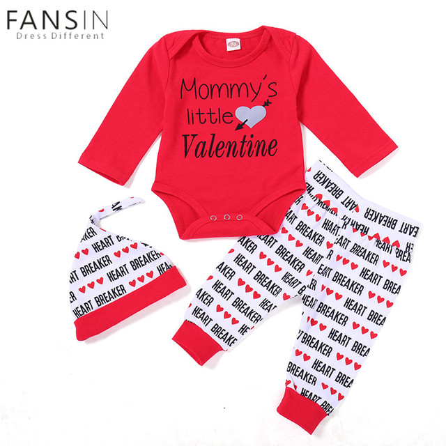 Baby Girls Clothes Set Mommyu0027s Little Valentines Day Long Sleeve Red  Romper+Heart Pants+