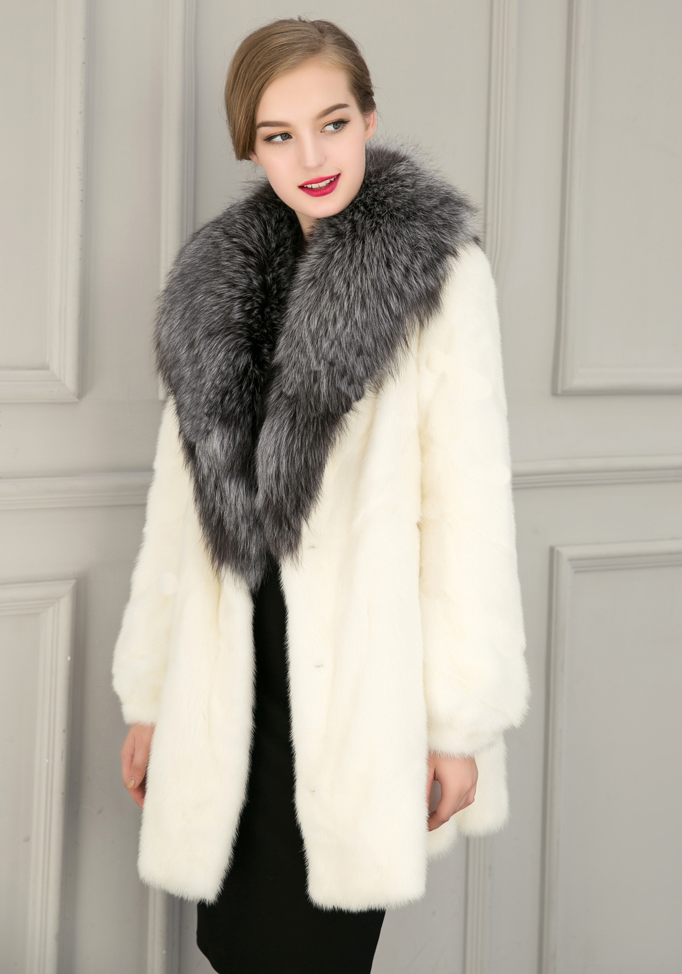 Online Buy Wholesale fitted black fur coat jacket black from China
