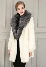 2016 Winter High Fashion Women's Luxurious Faux Fur Coat Slim Fit Suede Faux Leather Long Outerwear Parkas Top Quality Black
