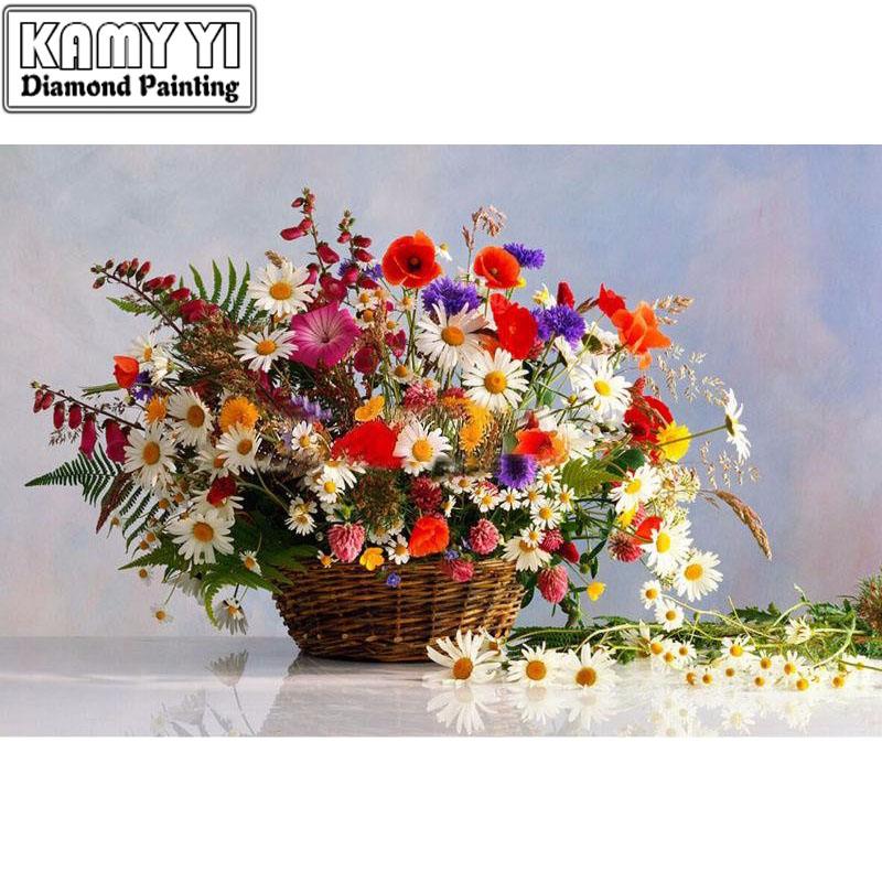 5D Diamond mosaic diamond embroiderye Daisy variety of flowers and baskets mbroidered Cross Stitch Home decoration Gift