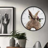 ควอตซ์เงียบขนาดใหญ่ 12 นิ้วโลหะคุณภาพสูงนาฬิกาสัตว์กระต่ายน่ารักหลายรูปแบบสำหรับ Kids Room Nursery decor