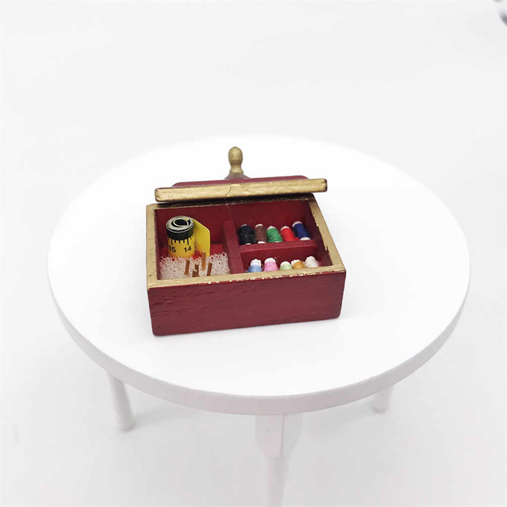 Dolls House Accessories Hobby Sewing Beans Sewing Thread Box 1:12 Accessories