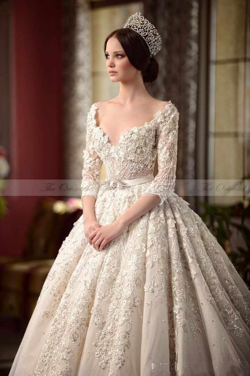 Popular victorian wedding dresses buy cheap victorian wedding - 2017 Luxury Vintage Lace Victorian Wedding Dresses With Sleeves 3d Floral Applique Backless Cathedral Train