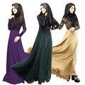 Nueva llegada de moda de las mujeres elegantes vestido Abaya musulmán o-cuello largo de la manga piso longitud imperio cintura Hijab islámico Kaftan Dresses