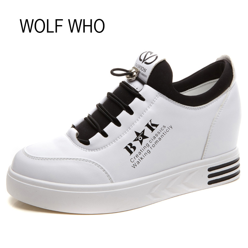 WOLF WHO Hidden Heels Wedges Sneakers Women Platform Shoes White Leather High Top Tenis Feminino Casual Basket Femme H-134 wolf who women winter shoes fur wedge fashion sneakers women hidden heels basket femme tenis femininos casual h 152