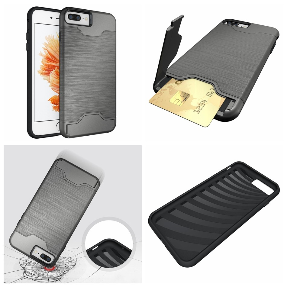 for iPhone 7 funda Luxury Slim Hybrid Credit Card pocket wallet pouch Phone case PC Back Cover for Apple iPhone 6S 6s Plus Coque (3)