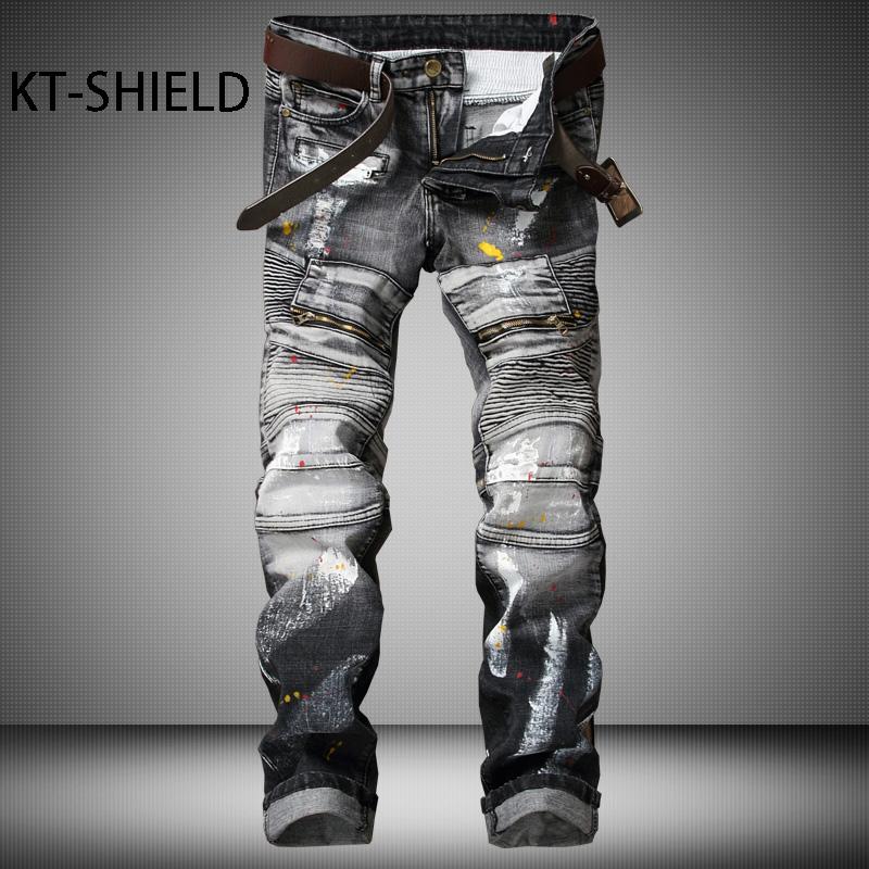 Biker ripped jeans for men Brand Designer Clothing skinny Casual pants trousers Masculina Pantalones Hombre Vaqueros Distressed black jeans men ripped biker elastic rivets denim vaqueros hombre hip hop skinny straight full length pants masculina pantalones