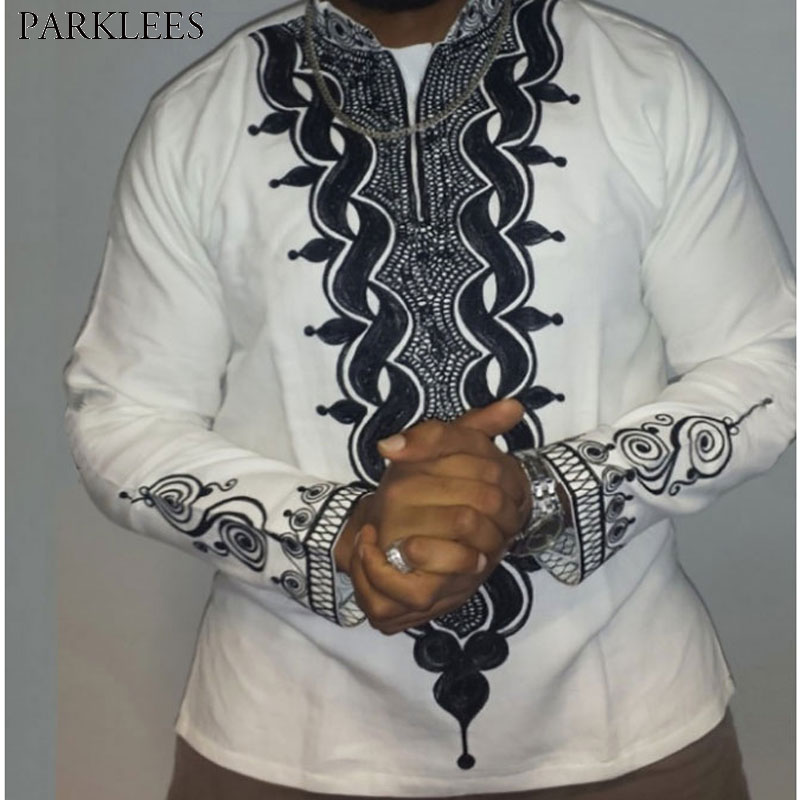Mens Hipster African Print Dashiki Dress Shirt 2018 Brand New Slim Fit Tribal Gypsy Ethnic Shirt Men Long Sleeve Africa Clothing