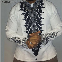 Mens Hipster African Print Dashiki Dress Shirt 2018 Brand New Slim Fit Tribal Gypsy Ethnic Shirt Men Long Sleeve Africa Clothing
